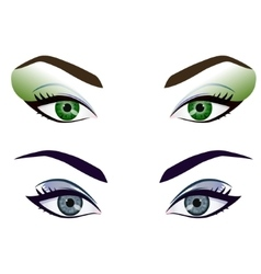 Set of realistic cartoon female eyes and vector image