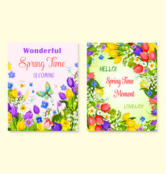 Spring flower greeting card with floral background vector
