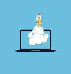 start up program rocket computer boot program vector image