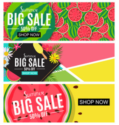 Summer sale abstract banner collection set vector