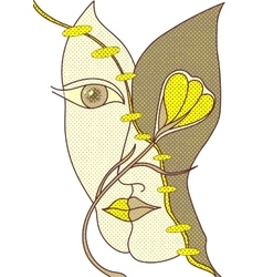 Surreal hand drawing faces vector image vector image