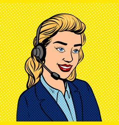 tech support girl pop art vector image vector image