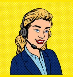Tech support girl pop art vector