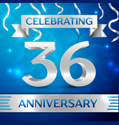 thirty six years anniversary celebration design vector image