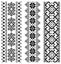 Ukrainian belarusian black embroidery seamless pa vector