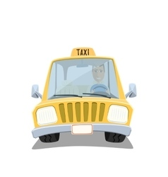 Yellow cartoon taxi car vector image