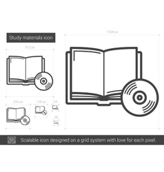 Study materials line icon vector