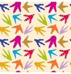 Dinosaur footprints seamless pattern vector image