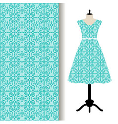 Women dress fabric with blue pattern vector