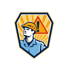 Contractor Construction Worker Caution Sign Retro vector image