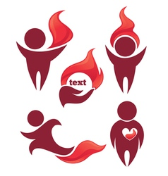 people and fire vector image