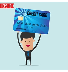 Businessman holding credit card vector