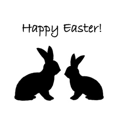 Monochrome silhouette of two Easter bunny rabbits vector image