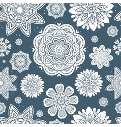Ornate floral snowflakes seamless pattern vector image