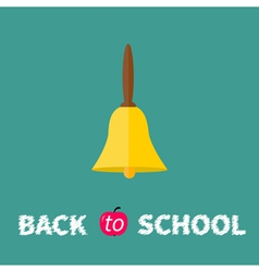 Gold bell with handle back to school chalk text vector