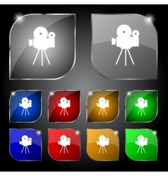 Video camera sign iconcontent button set colourful vector