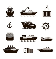 Set of transportation and shipping icons vector