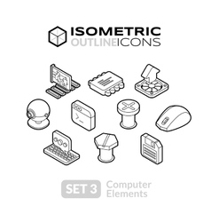 Isometric outline icons set 3 vector
