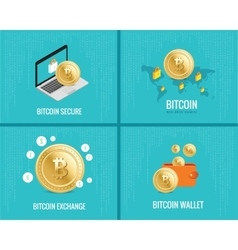 Bitcoin set - coins wallet secure vector