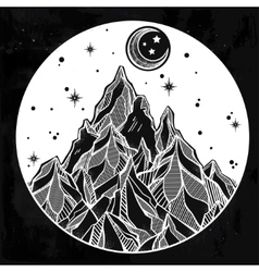 Mountain and starry sky vector