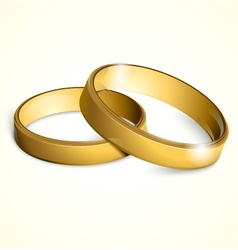 golden wedding rings vector image