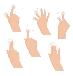 Set of hands with multitouch gestures for tablet vector