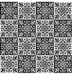 Hand drawing seamless pattern for tile in black vector