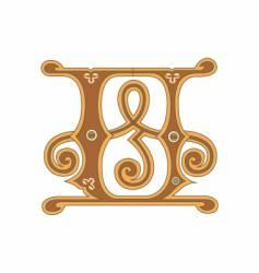 golden letter u vector image