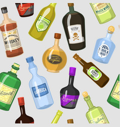 alcohol strong drinks in bottles cartoon glasses vector image