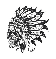 American indian chief skull vector
