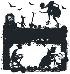 Black and white halloween with silhouettes vector