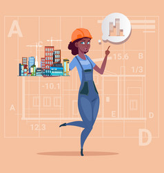 Cartoon female builder holding small house ready vector