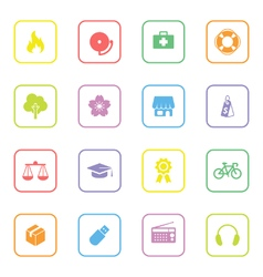 Colorful web icon set 6 with rounded rectangle fra vector