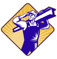 Construction worker saluting vector