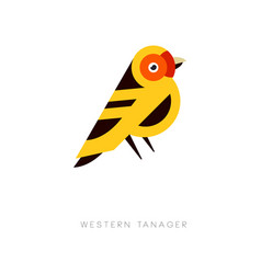 Creative geometric icon of western tanager bird vector