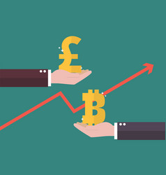 currency exchange pound sterling and bitcoin vector image vector image
