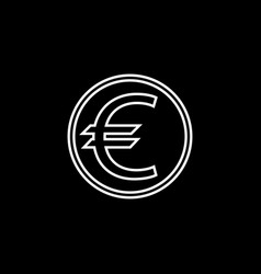 Euro coin line icon finance and business vector