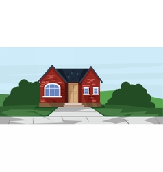 flat style red one floor house vector image vector image