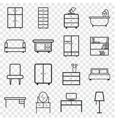 furniture icons set flat on isolated background vector image