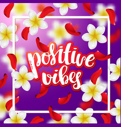 Hand drawn calligraphy positive vibes vector