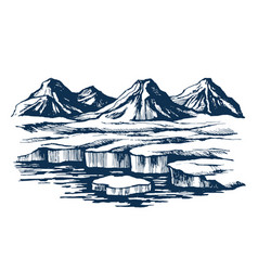 Iceland group mountains on the island vector
