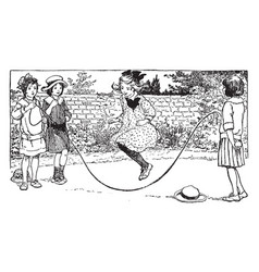 Jumping rope vintage vector