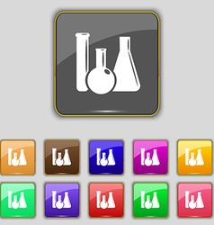 Laboratory glass chemistry icon sign set with vector
