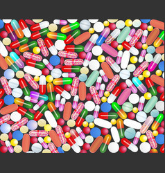 Medical background with pills and capsules pills vector