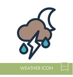moon cloud rain lightning icon weather vector image