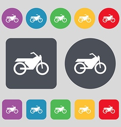 Motorbike icon sign A set of 12 colored buttons vector image