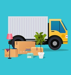 Moving truck and cardboard boxes moving house vector