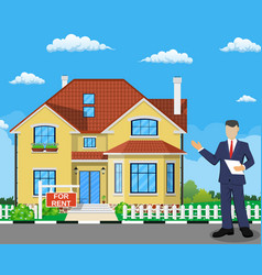 real estate broker at work vector image vector image
