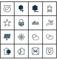 Set of 16 eco-friendly icons includes save world vector