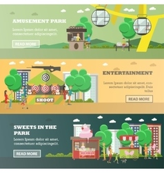 Set of amusement park concept horizontal vector